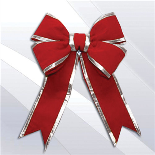 red bow with silver accent perfect for the holidays.
