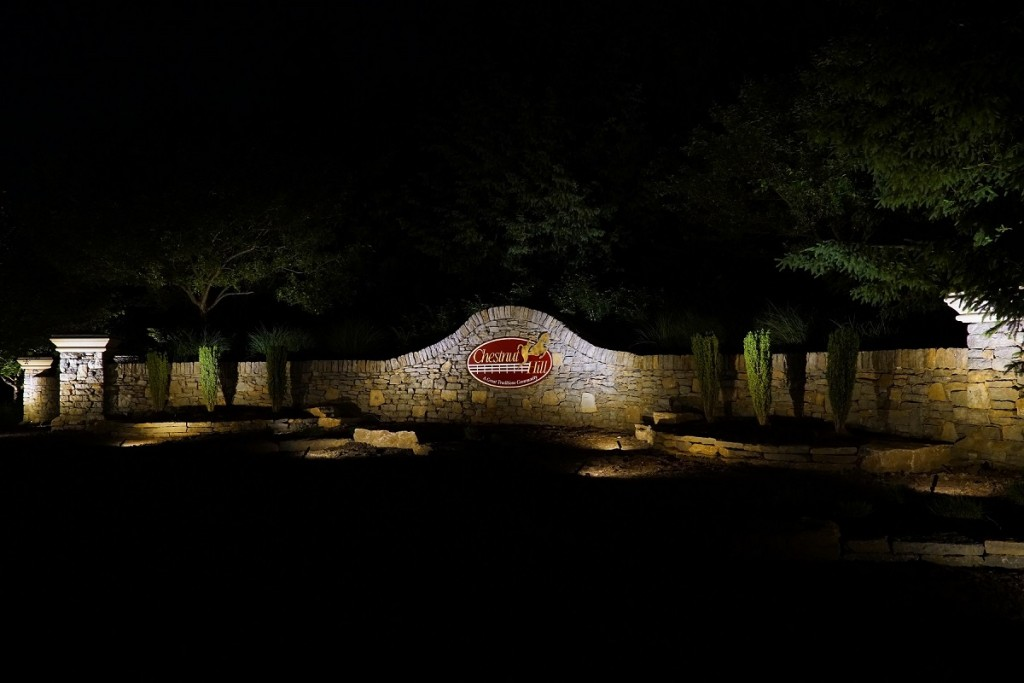 Cincinnati HOA Lighting of signage in Chestnut Hills