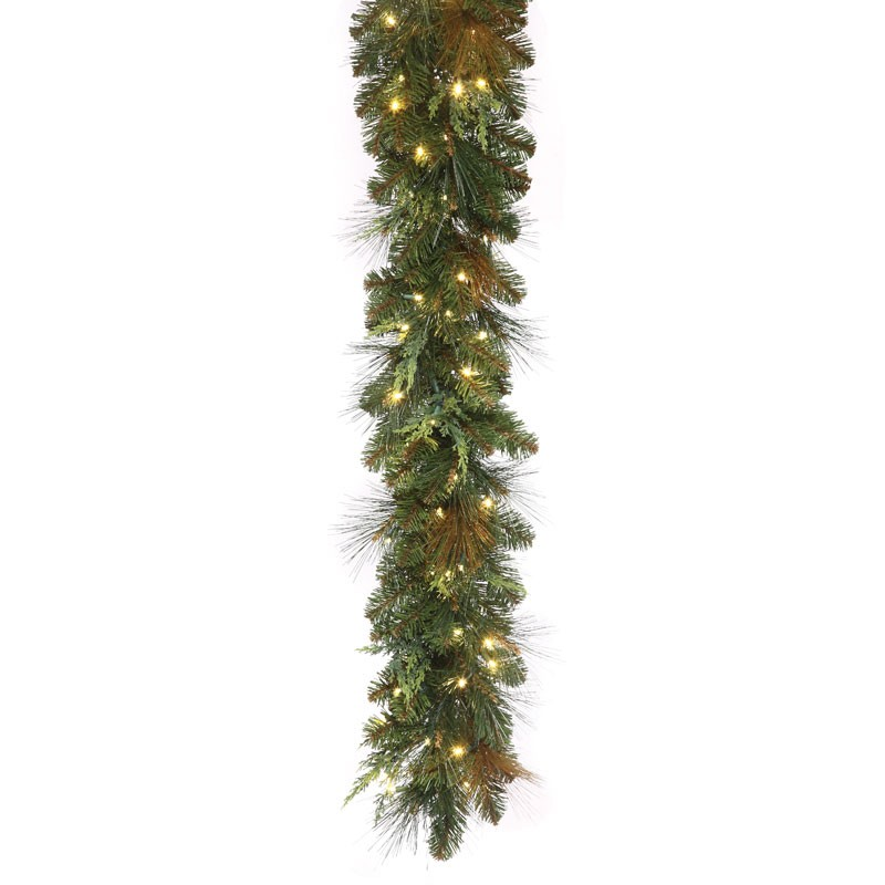 "14""x9' Battery-powered Mixed Cedar Pine Garland with warm white LED concaves. 100 LED bulbs."