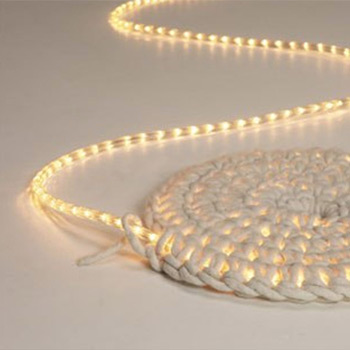 lit rugs can be created by crocheting around a rope light