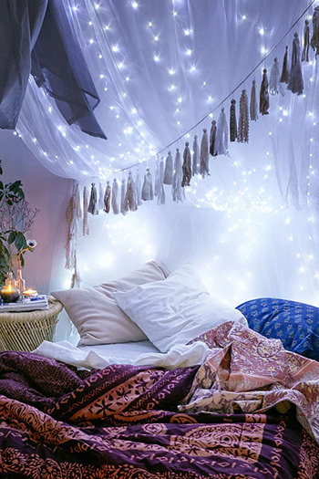 string lights over a canopy creates a dreamlike environment.