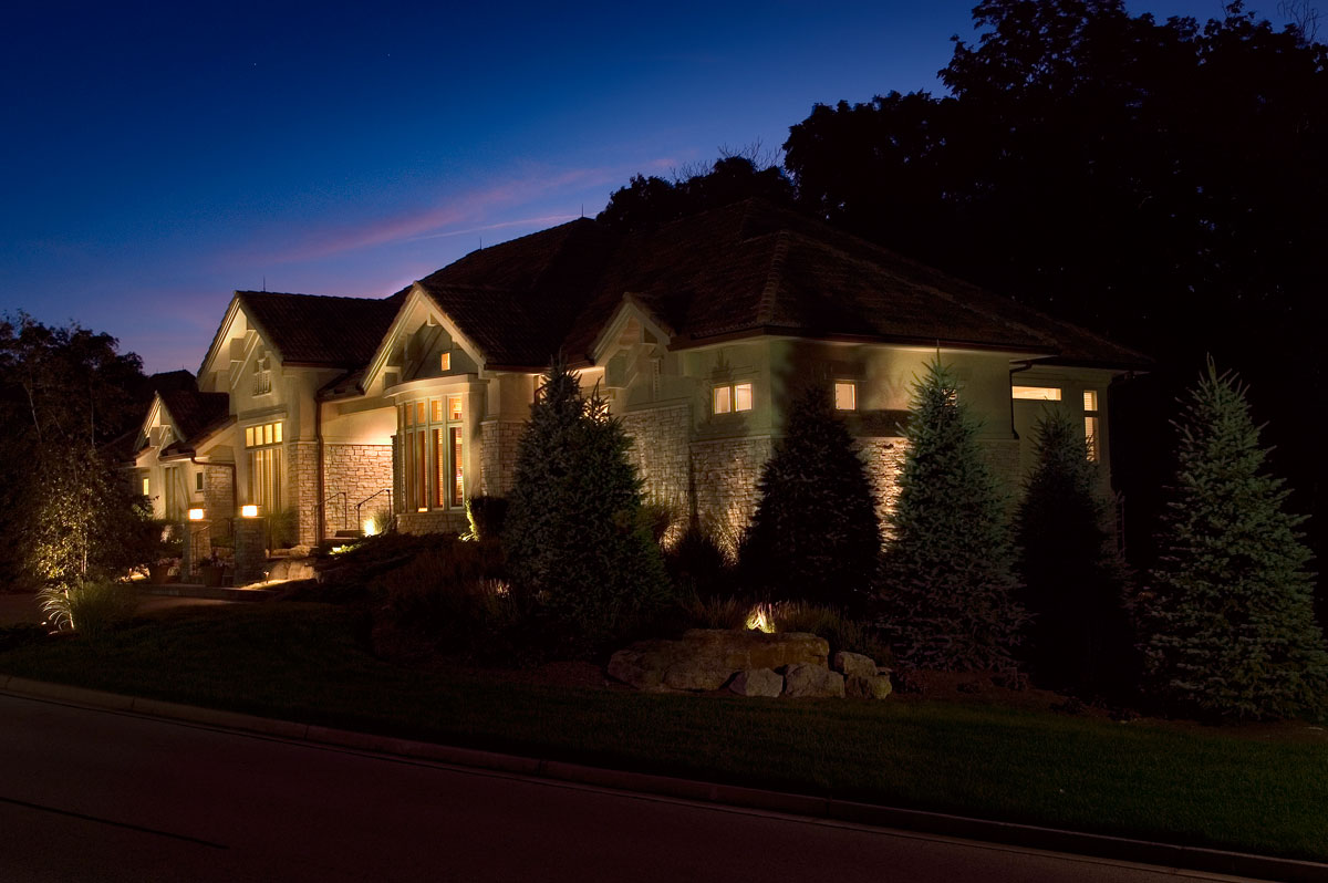 Landscape lighting for a Springboro, OH residence.