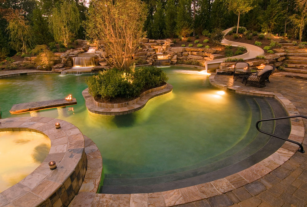 pool lighting and outdoor living space in cincinnati oh